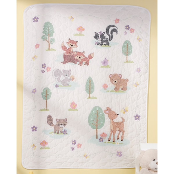 """Forest Friends Crib Cover Stamped Cross Stitch Kit-34""""X43"""""""