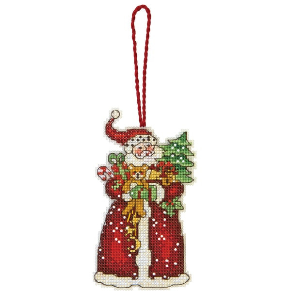 "Susan Winget Santa Ornament Counted Cross Stitch Kit-2-3/4""X4-3/4"" 14 Count Plastic Canvas"