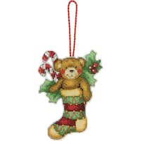 """Susan Winget Bear Ornament Counted Cross Stitch Kit-3-1/4""""X4-1/2"""" 14 Count Plastic Canvas"""
