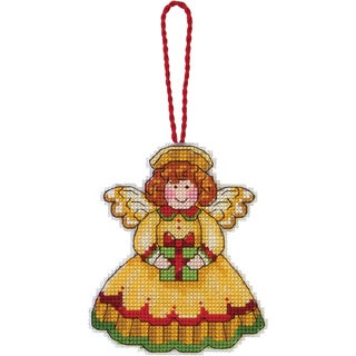 """Susan Winget Angel Ornament Counted Cross Stitch Kit-3-1/4""""X3-3/4"""" 14 Count Plastic Canvas"""