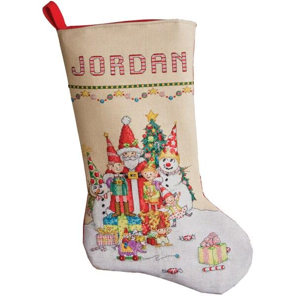 "Santa & Gang Stocking Counted Cross Stitch Kit-18"" Long 28 Count"