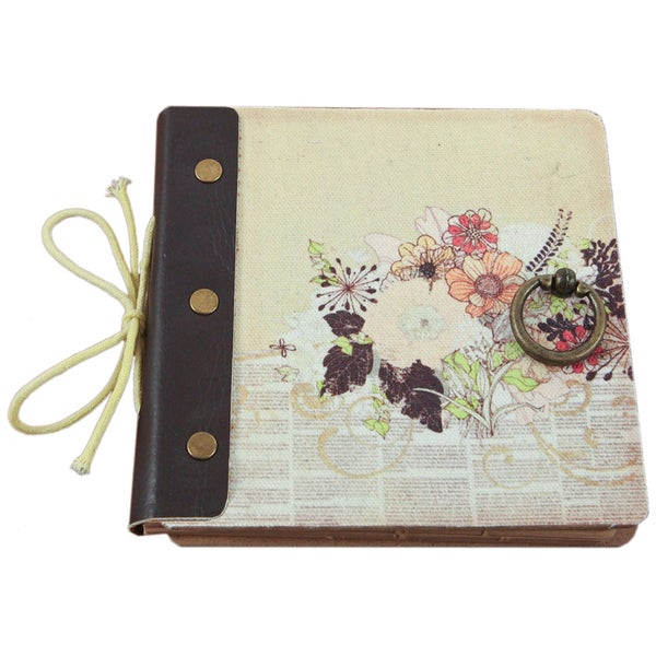 """Mixed Media Album With Canvas Laminated MDF Covers 8""""X8""""-Flowers - 50 Kraft Pages"""