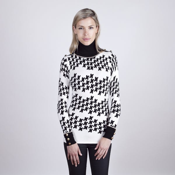 Colour Works Women's Houndstooth Print Turtleneck