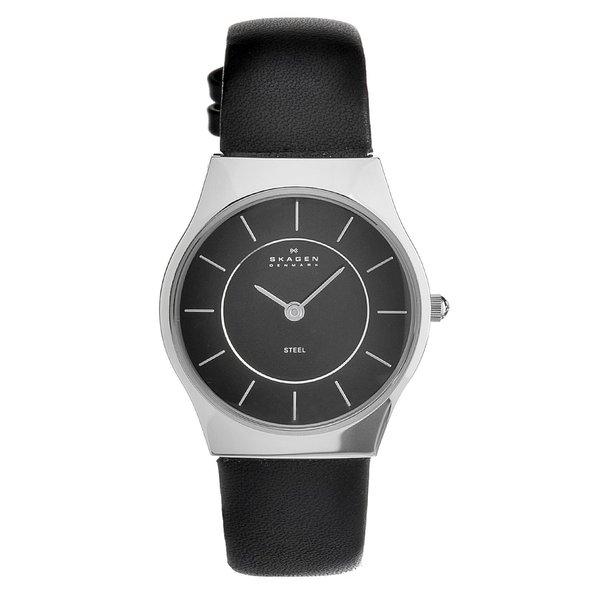 Skagen Women's Stainless Steel Leather Strap Watch