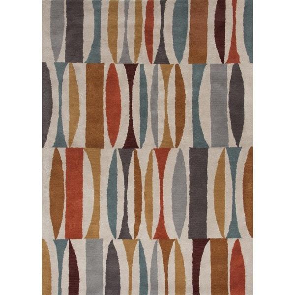 Modern Geometric Wool Tufted Rug (5' x 8')
