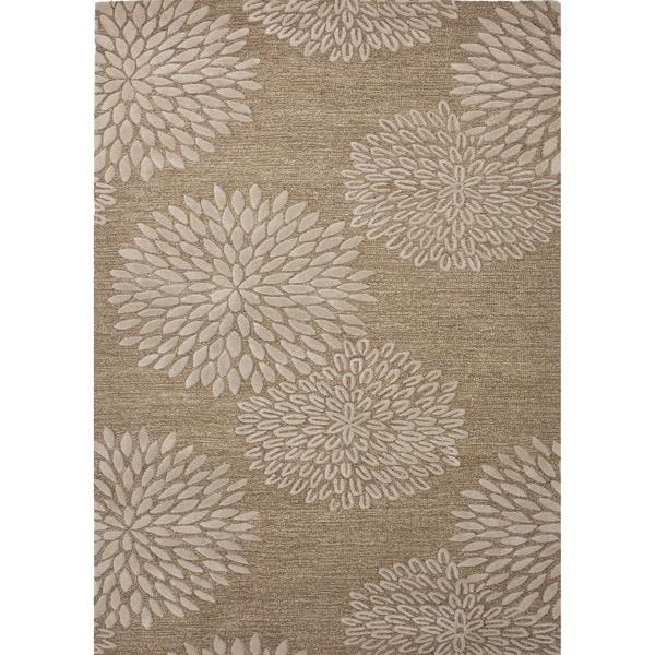 Transitional Beige/ Brown Wool/ Silk Tufted Rug (8' x 11')