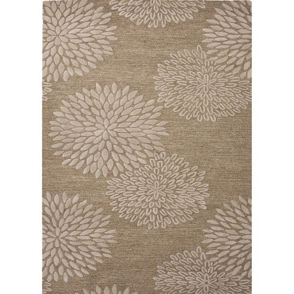Transitional Beige-and-Brown Wool-and-Silk Hand-Tufted Rug (2' x 3')