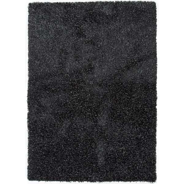 Gray/Black Solid Polyester Shag Rug (2' x 3')