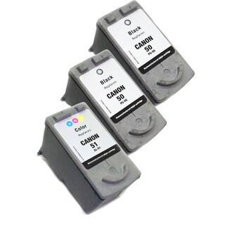 Canon PG50/CL51 Black/ Color Ink Cartridges (Remanufactured) (Pack of 3)