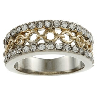 Simon Frank Two-tone Clear Crystal Filigree Band