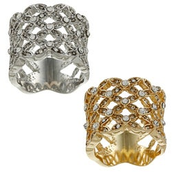 Simon Frank Silvertone or Goldtone Clear Crystal Basketweave Ring (More options available)