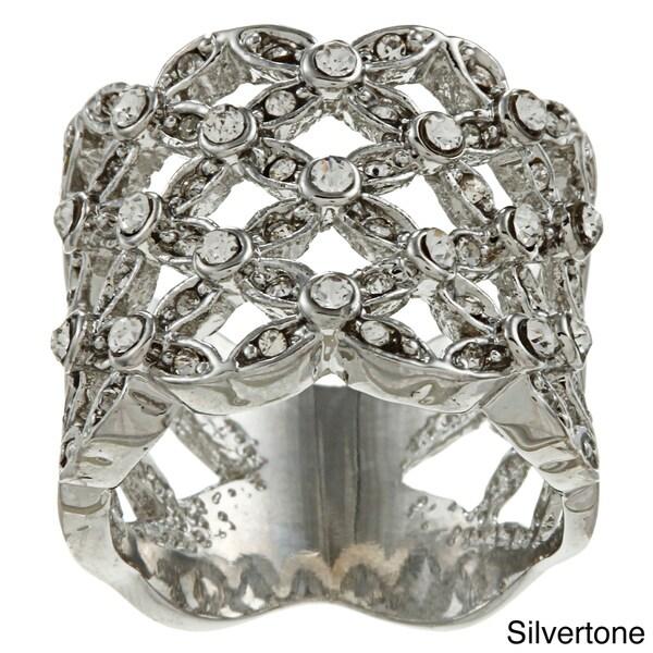 Simon Frank Silvertone or Goldtone Clear Crystal Basketweave Ring