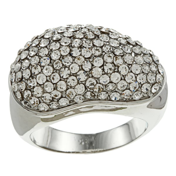 Simon Frank Silvertone Crystal Asymmetrical Dome Ring