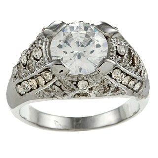 Simon Frank Silvertone Cubic Zirconia and Crystal Antique Art Deco Ring