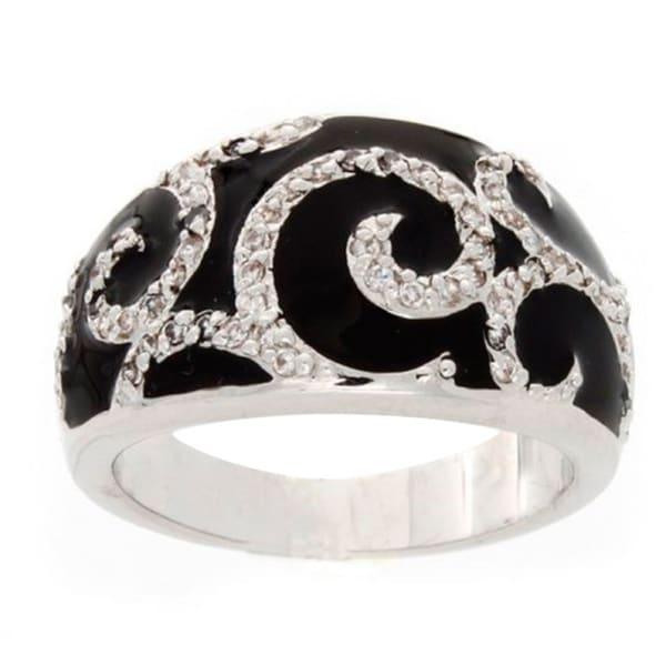 Simon Frank Silvertone Synth. Black Onyx Art Deco Ring