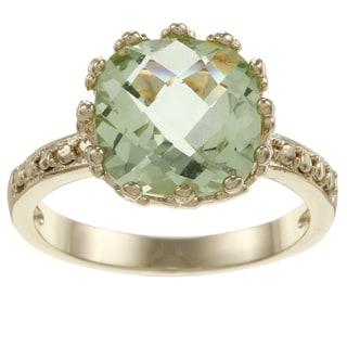 Simon Frank Gold Tone Fancy Cut Oval Light Green CZ Ring