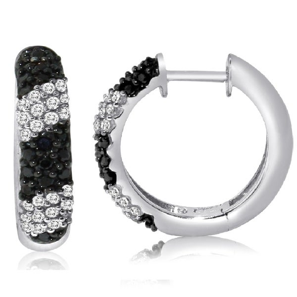 Sterling Silver 1/2ct TDW Black and White Pave Diamond Hoop Earrings