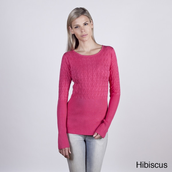Colour Works Women's Broken Cable Rib Detail Pullover