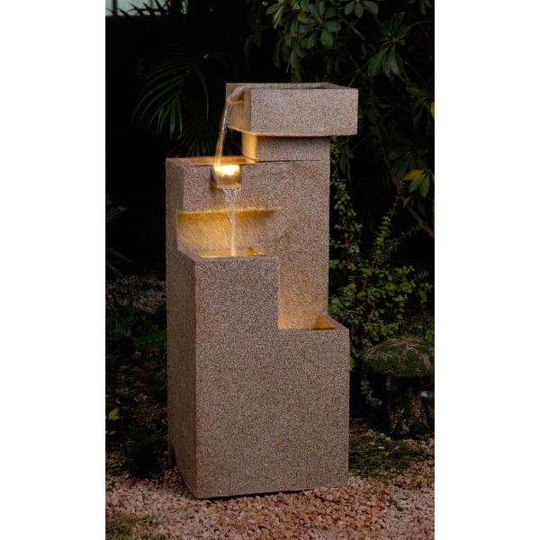 Sandstone Cascade Tiers Lighted Fountain