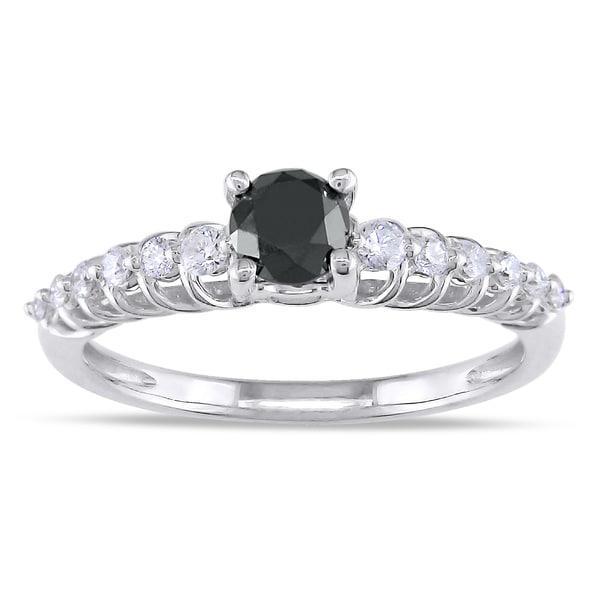 Miadora 14k Gold 3/4ct TDW Black and White Diamond Ring