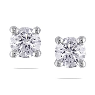 Miadora Signature Collection 18k White Gold 3/4ct TDW Diamond Stud Earrings