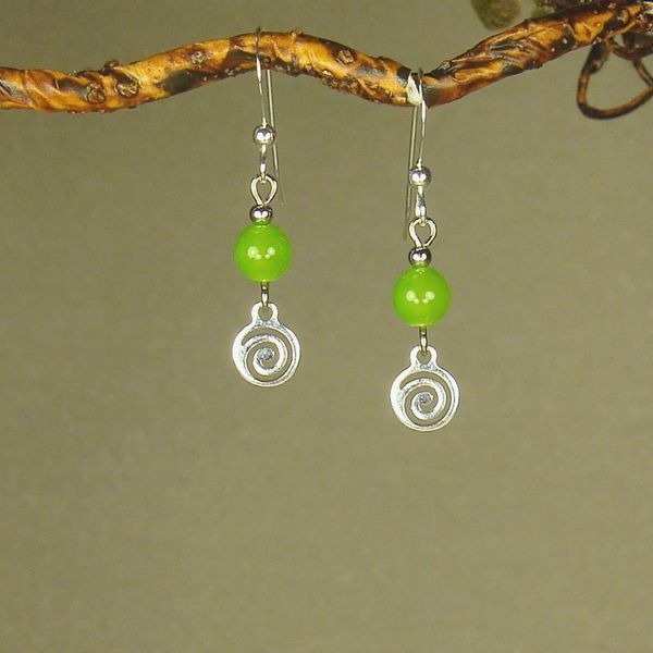 Jewelry by Dawn Lime Green With Silver Swirl Drop Earrings