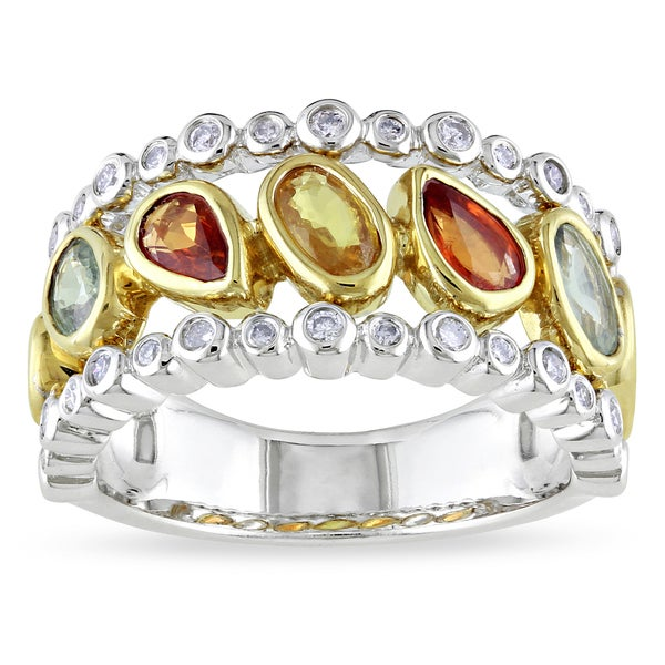 Miadora 14k Gold Sapphire and 1/4ct TDW Diamond Ring (G-H, SI1-SI2)