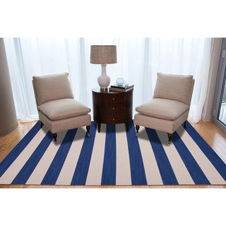 Handmade Flat-weave Blue Stripe Wool Area Rug (8' x 10')
