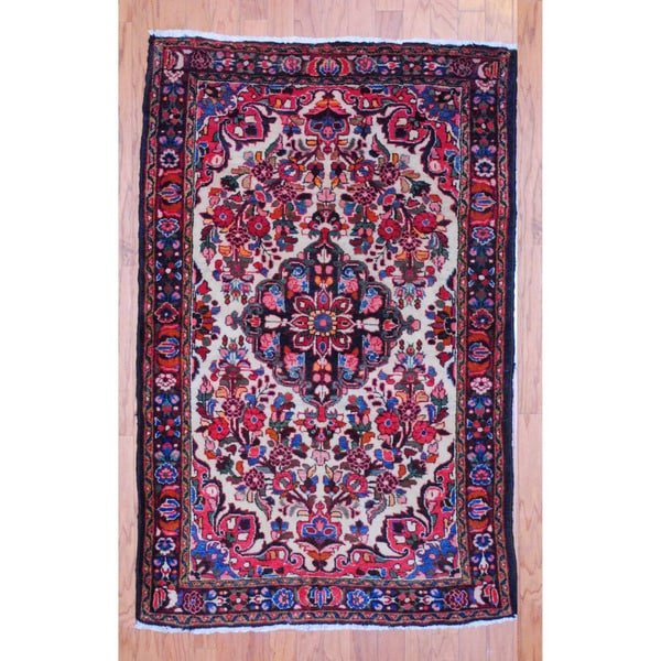 Persian Hand-knotted Tribal 1960's Hamadan Ivory/ Navy Wool Rug (3'5 x 5'5)