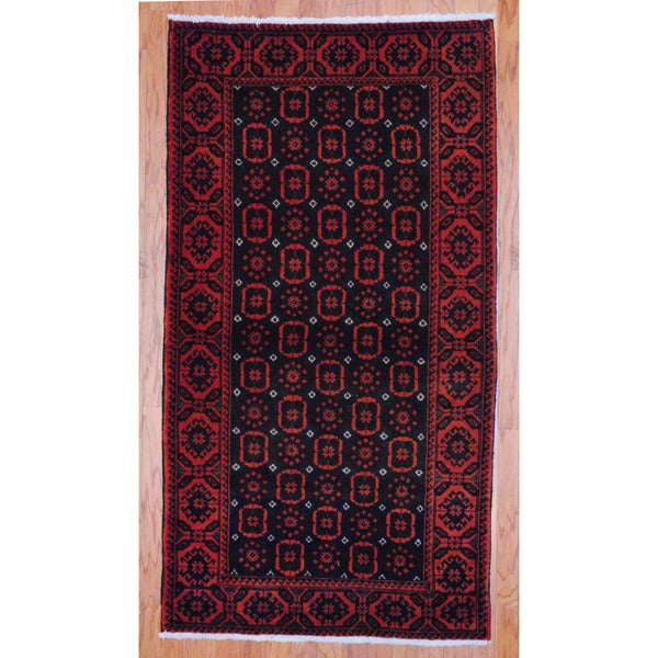 Persian Hand-knotted Tribal 1960's Balouchi Navy/ Rust Wool Rug (3'3 x 6')