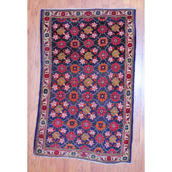 Persian Hand-knotted Tribal 1960's Hamadan Navy/ Ivory Wool Rug (3'7 x 5'4)
