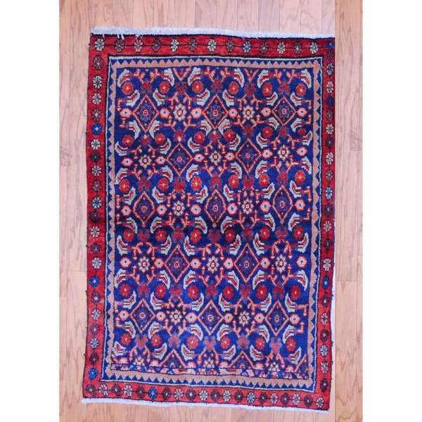 Persian Hand-knotted Tribal 1960's Hamadan Navy/ Red Wool Rug (3' x 4'5)