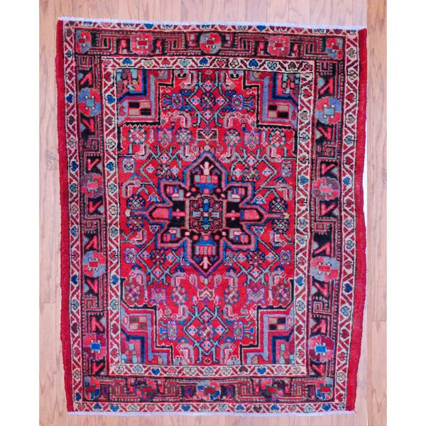 Persian Hand-knotted Tribal Hamadan Red/ Black Wool Rug (3'7 x 4'7)