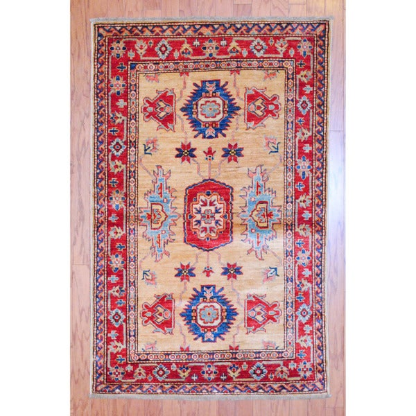Afghan Hand-knotted Tribal Kazak Beige/ Red Wool Rug (3'3 x 5'3)