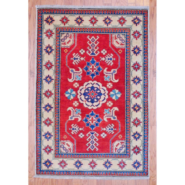 Afghan Hand-knotted Tribal Kazak Red/ Navy Wool Rug (3'8 x 5'5)