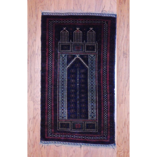 Afghan Hand-knotted Tribal Balouchi Navy/ Red Wool Rug (2'6 x 4'6)