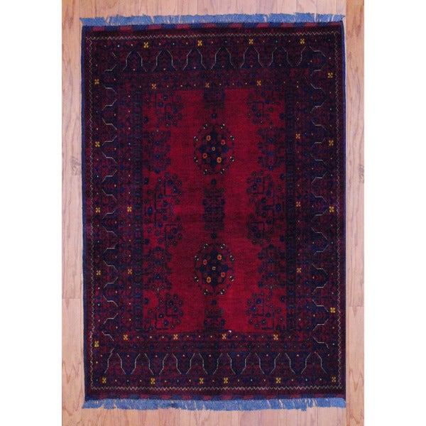 Afghan Hand-knotted Tribal Khal Mohammadi Red/ Navy Wool Rug (3'4 x 4'9)