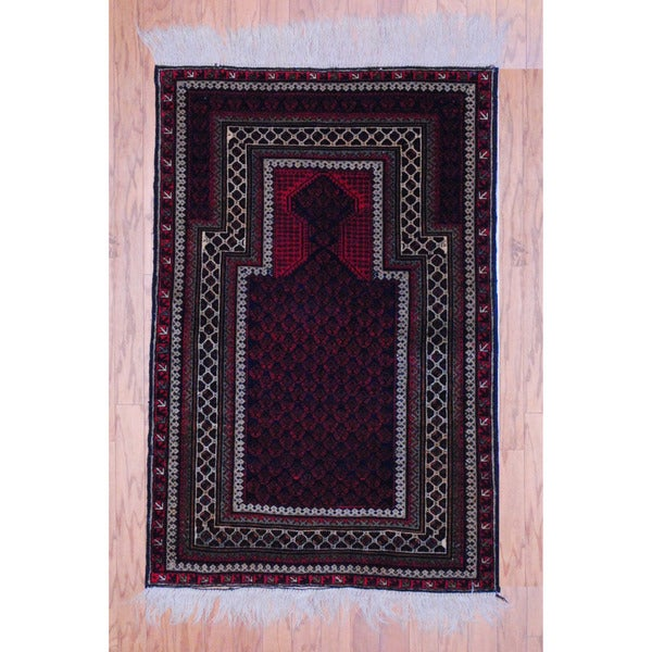 Afghan Hand-knotted Tribal Balouchi Red/ Black Wool Rug (3' x 4'6)