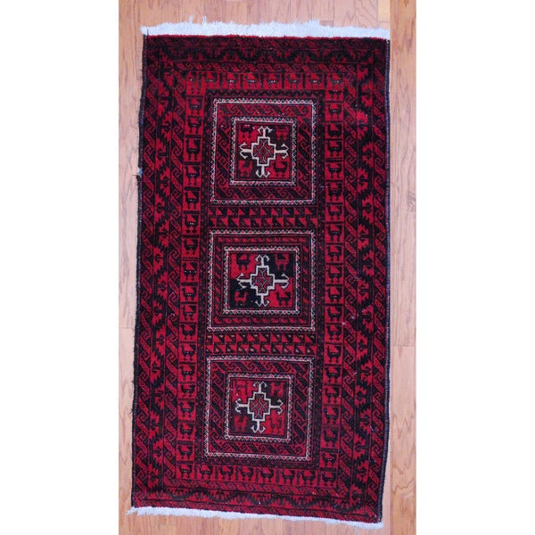 Afghan Hand-knotted Tribal Balouchi Red/ Black Wool Rug (2'8 x 5'1)