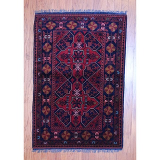 Herat Oriental Afghan Hand-knotted Tribal Khal Mohammadi Rust/ Black Wool Rug (3'3 x 4'10)