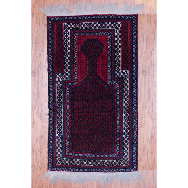 Afghan Hand-knotted Tribal Balouchi Red/ Green Wool Rug (2'9 x 5')