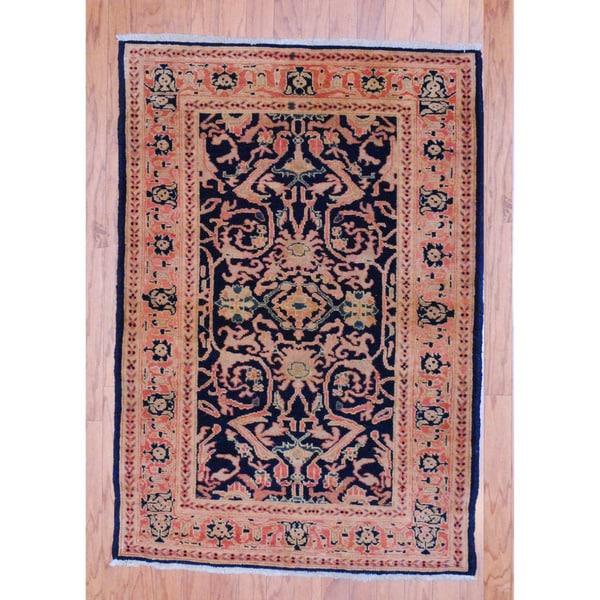 Herat Oriental Afghan Hand-knotted Tribal Vegetable Dye Navy/ Peach Wool Rug (3'4 x 4'9)