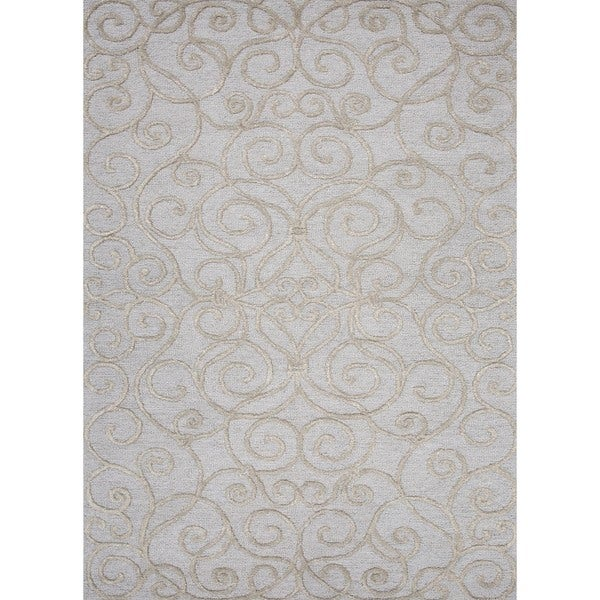 Transitional Floral Blue Wool/Silk Tufted Area Rug (5' x 8')