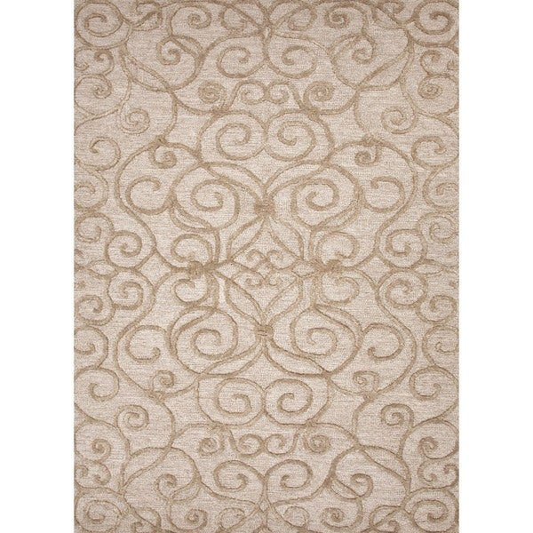 Transitional Beige/ Brown Wool/ Silk Tufted Rug (9'6 x 13'6)