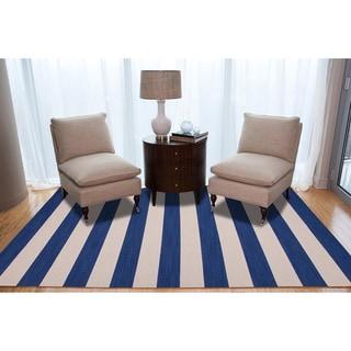 Handmade Flat Weave Stripe Blue Wool Rug (5' x 8')