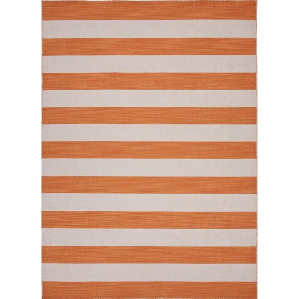 Handmade Flat-Weave Stripe Vermillion-Orange/Ivory Wool Rug (9' x 12')