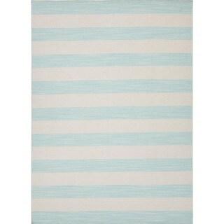 Flat Weave Stripe Blue Wool Reversible Rug (2' x 3')