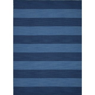 Flat Weave Stripe Blue Wool Area Rug (5' x 8')