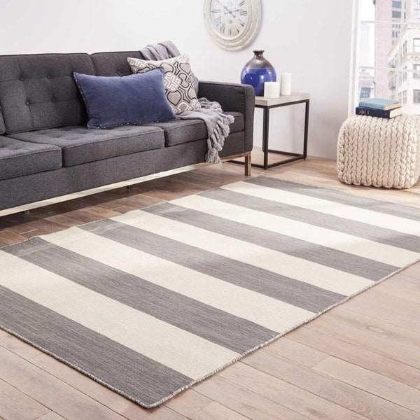 Shop Mendocino Handmade Stripe Gray White Area Rug 8 X