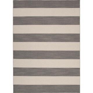 Flat Weave Stripe Gray Rug (2' x 3')